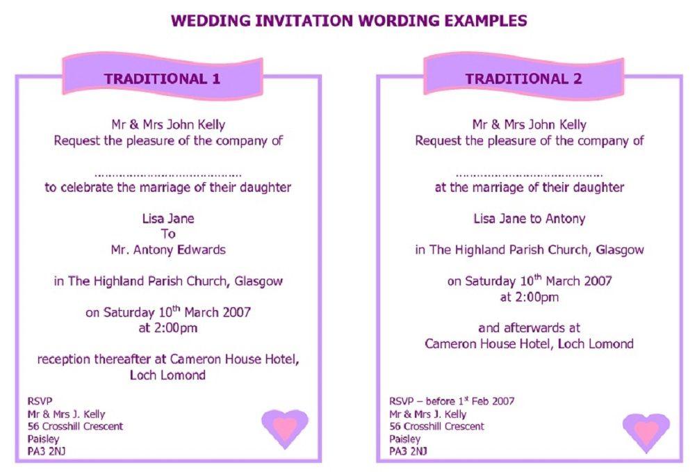 Wedding Invitation Wording Samples: Best Traditional Wedding Card ...
