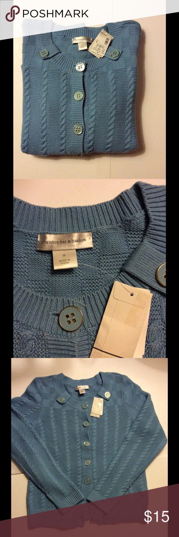 NWT Blue Button Down Cable Knit Sweater Size M ❄ NWT | Cable ...