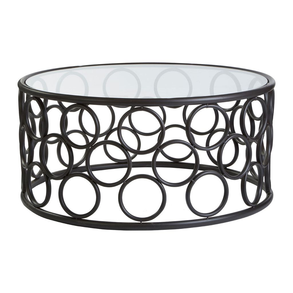 Antalya Round Coffee Table Black Metal Frame Glass Top Round
