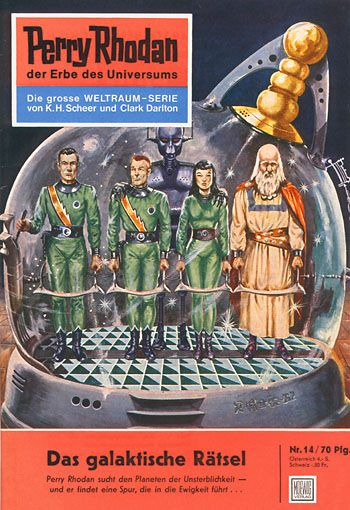 """Perry Rhodan - No.14: The Galactic Riddle - by Clark Darlton: Cover artwork by """"Johnny"""" Bruck: This was US Issue #8."""