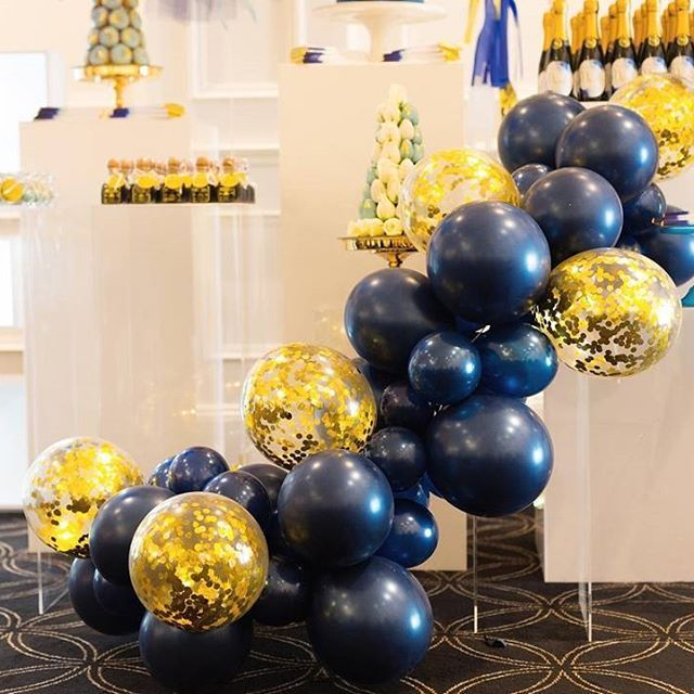 Mini Balloon Garland Navy And Gold Glam Wonderland