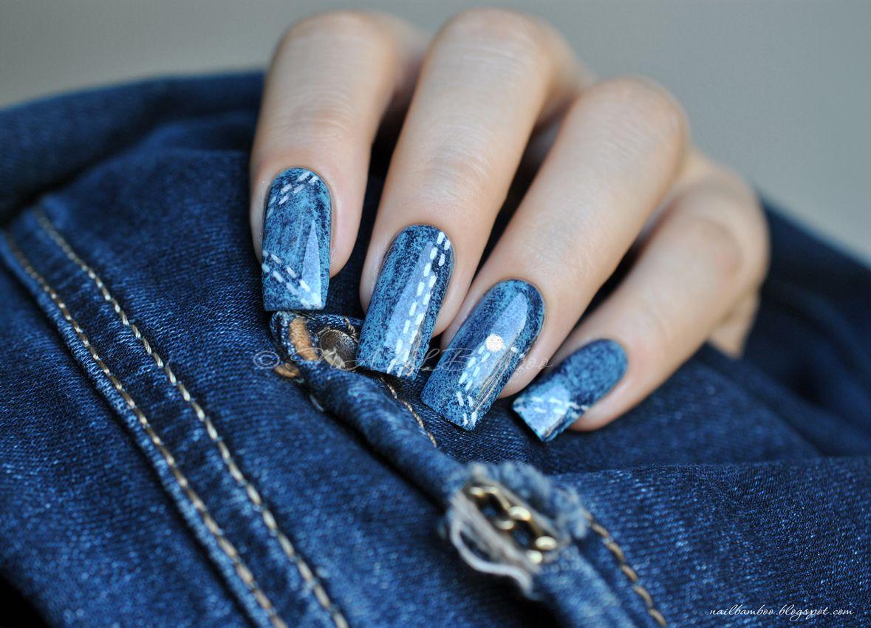 Dorable Denim Uñas Azules Composición - Ideas Para Pintar Uñas ...