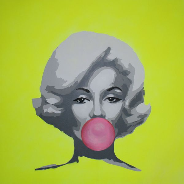 Bubble Gum Marilyn - spray paint on canvas by Dan Pearce http://www.danes-art.com/