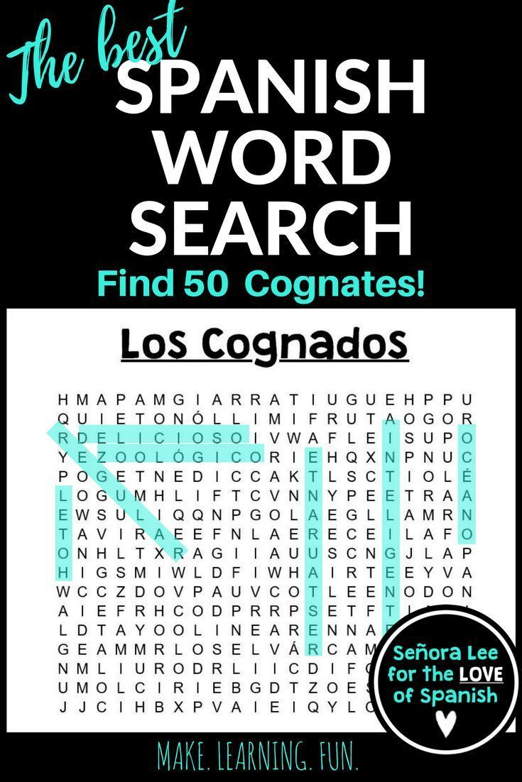spanish cognates word search 90 tl pinterest spanish