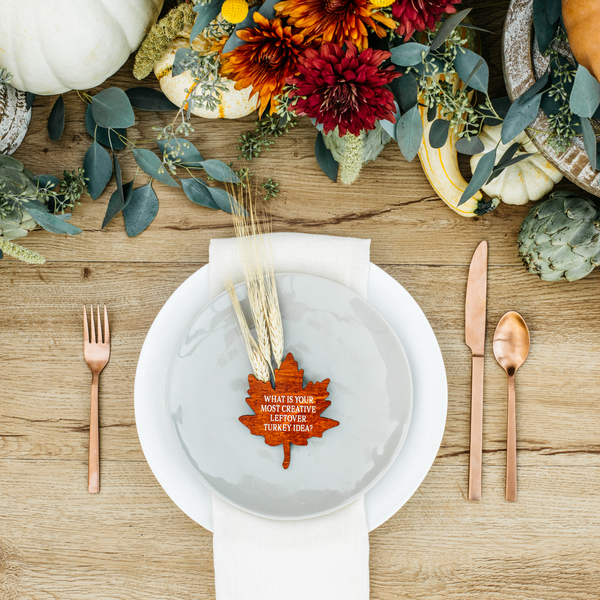 Harvest Conversation Leaves Thanksgiving place cards