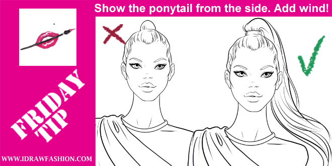 How to draw a ponytail Ponytail drawing, Fashion
