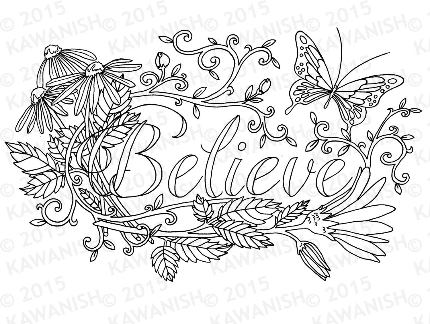 Printable coloring pages for adults flowers - Believe Flower Inspirational Adult Coloring Page Gift By Kawanish