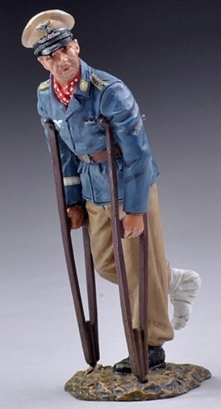 World War II German Luftwaffe LUFT016B Afrika Korps Prinz Wittgenstein on Crutches  - Made by Thomas Gunn Military Miniatures and Models. Factory made, hand assembled, painted and boxed in a padded decorative box. Excellent gift for the enthusiast.