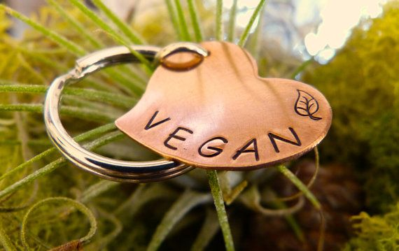 Vegan Love - Copper Heart Key Chain