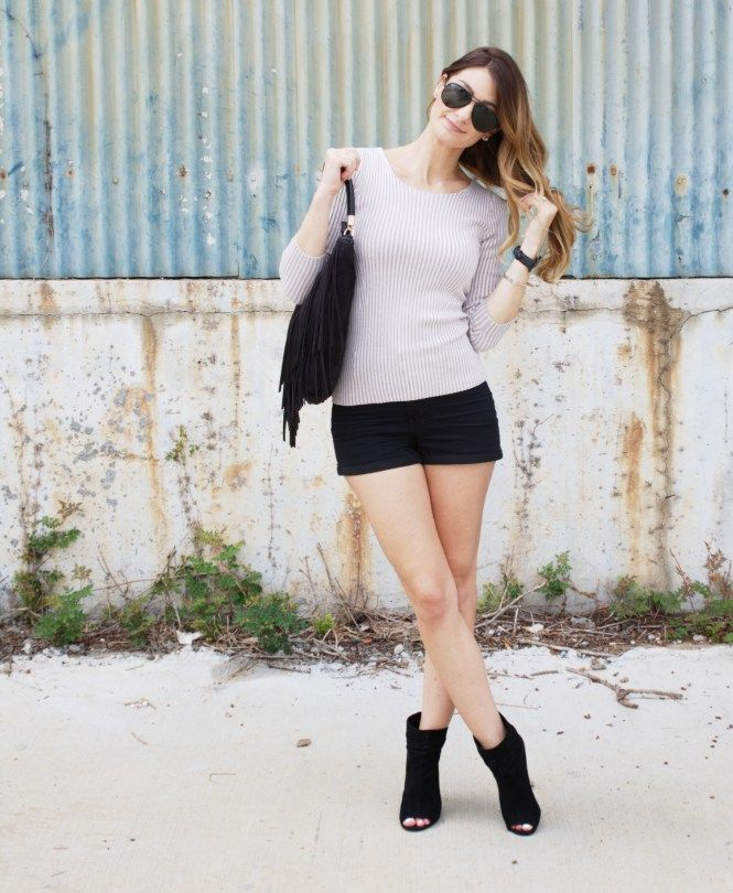 Fringe and peep toe booties for fall