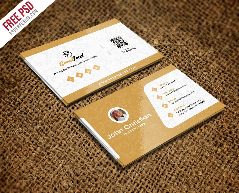 Restaurant Chef Business Card Template Psd  Creative Cards