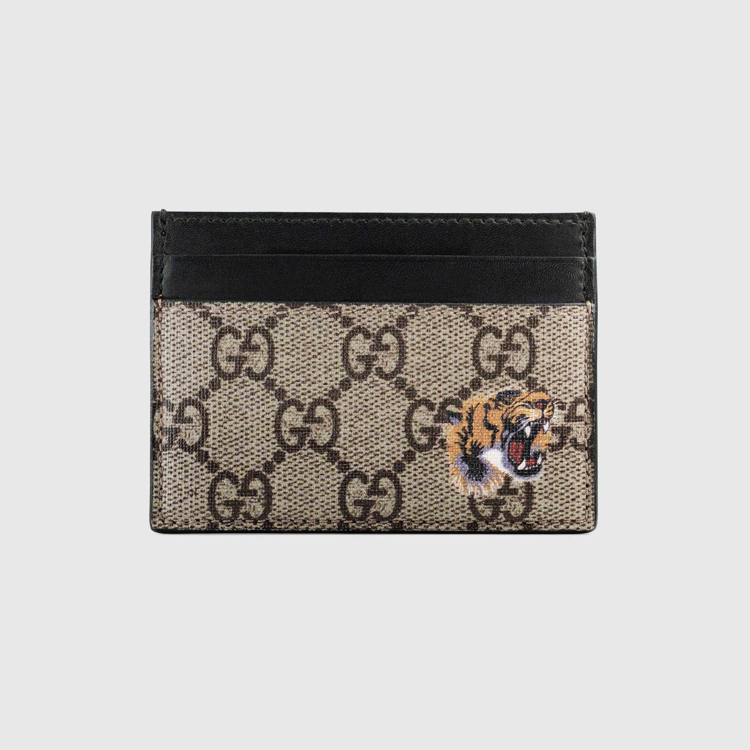 Gucci Tiger print GG Supreme card case in 2019
