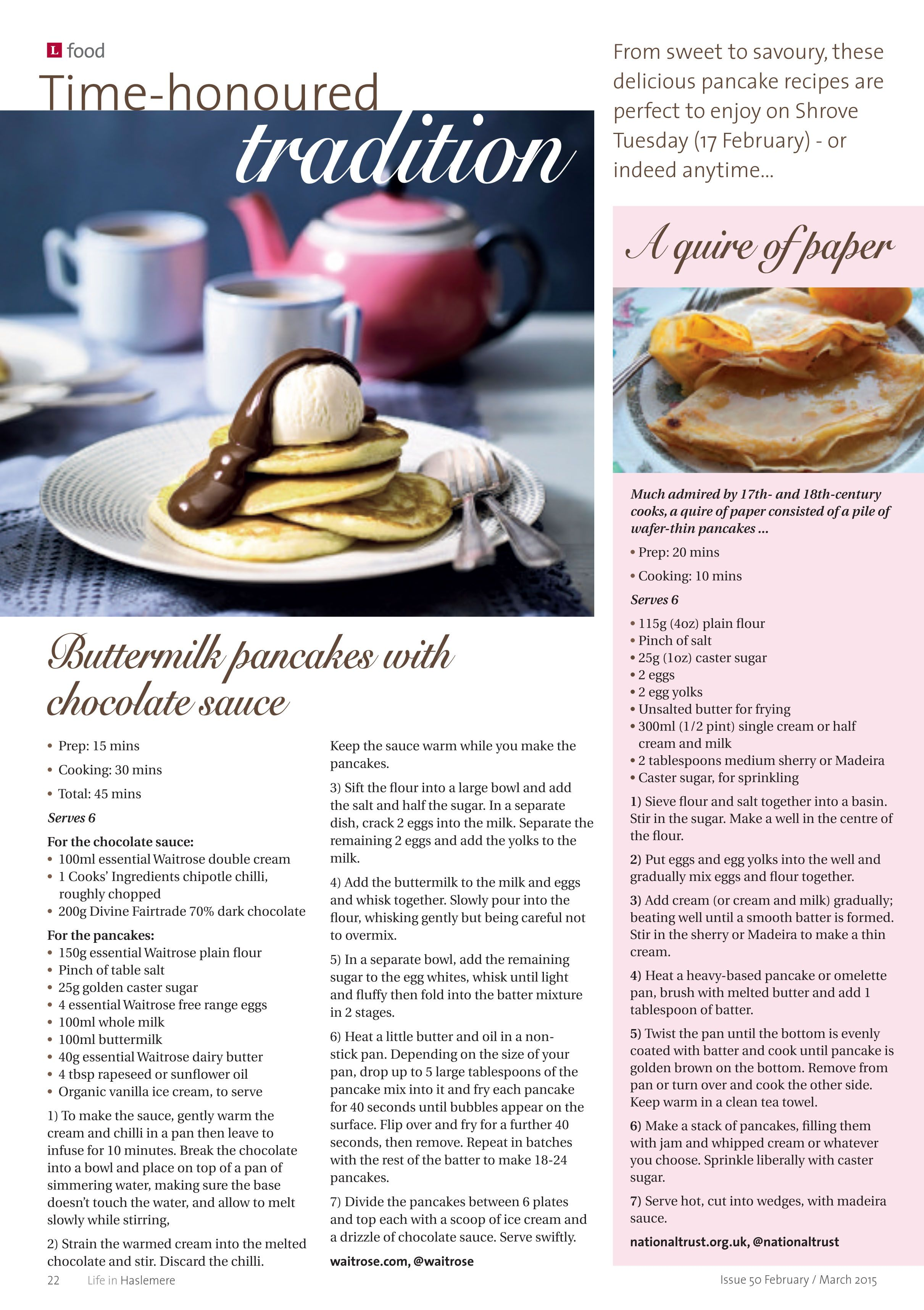 ~ Time-honoured tradition ~ From sweet to savoury, perfect pancake recipes for Shrove Tuesday (17 February) #locallife #Haslemere #Surrey #food #recipes #pancakes #sweet #savoury