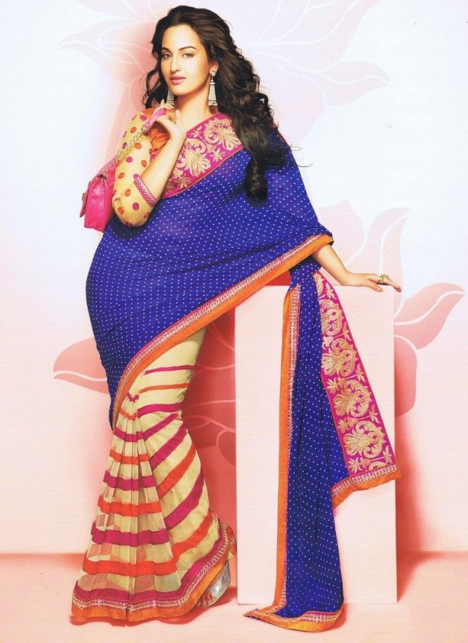 Exceptional Blue & Cream Stripped Chiffon #Bollywood #Saree