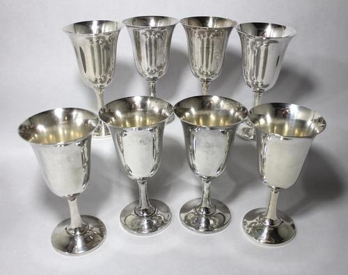 8 Large Antique CARTIER Solid Sterling Silver Goblet Glasses 43.9 Troy Ounces..ebay