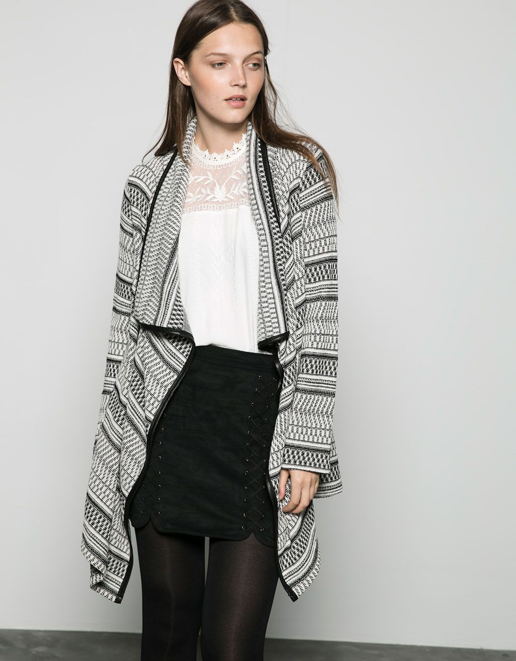 Bershka jacquard draped imitation leather detail jacket. Discover this and many more items in Bershka with new products every week