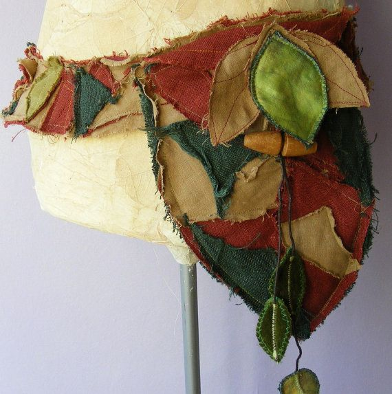 upcycled linen belt bag leafy frayed and tattered eco pixie Faerie up to 36 inches  $65