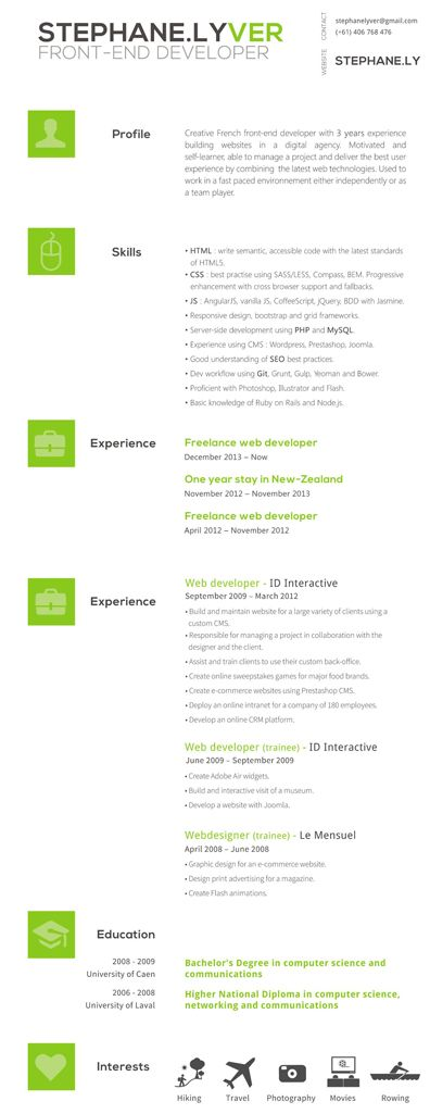 Front End Developer Sample Resume CV   Resume Pinterest - front end developer resume