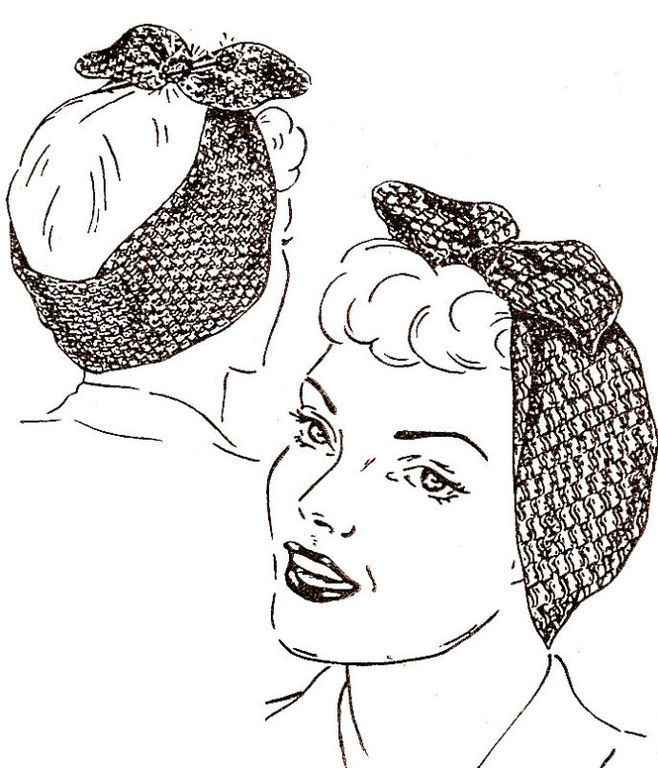 Snood Hair Net Head Band Vintage Crochet Pattern 40s for