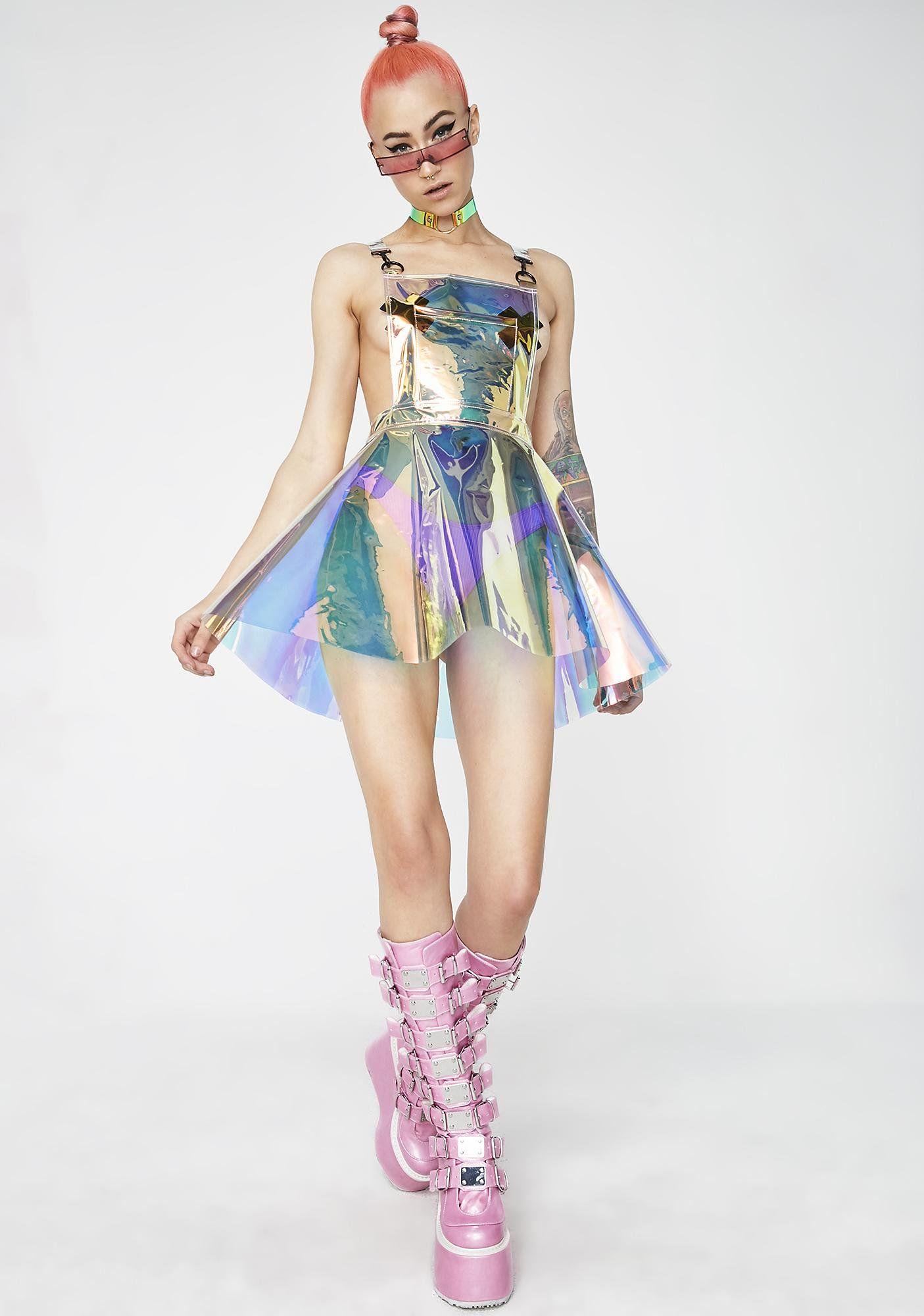 7b3e570af3f Club Exx Space Gurl Hologram Overall Dress