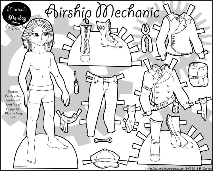 airship-mechanic-paper-doll-bw | Paper Dolls: Fantasy Wardrobe Pt 2 ...