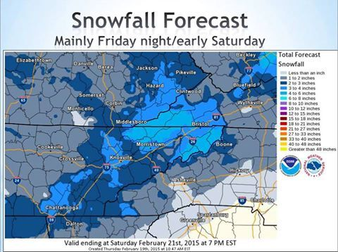 More snow and ice predicted for the weekend of 022115.