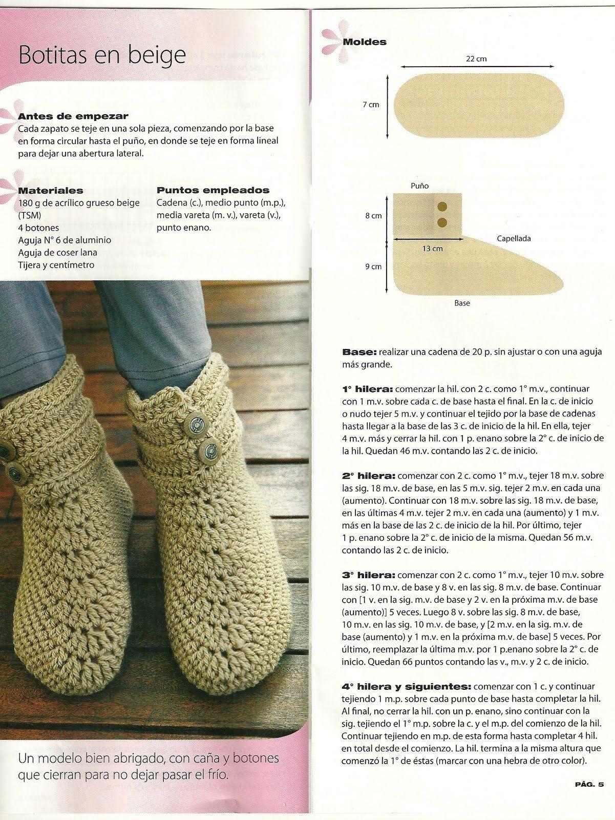Les paso un patrón de unas botitas tejidas en crochet, que son muy ...