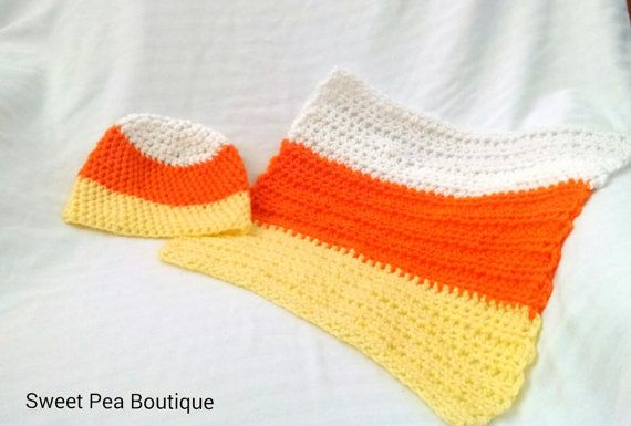 Crochet baby blanket and hat Halloween by SweetPeaBoutique15