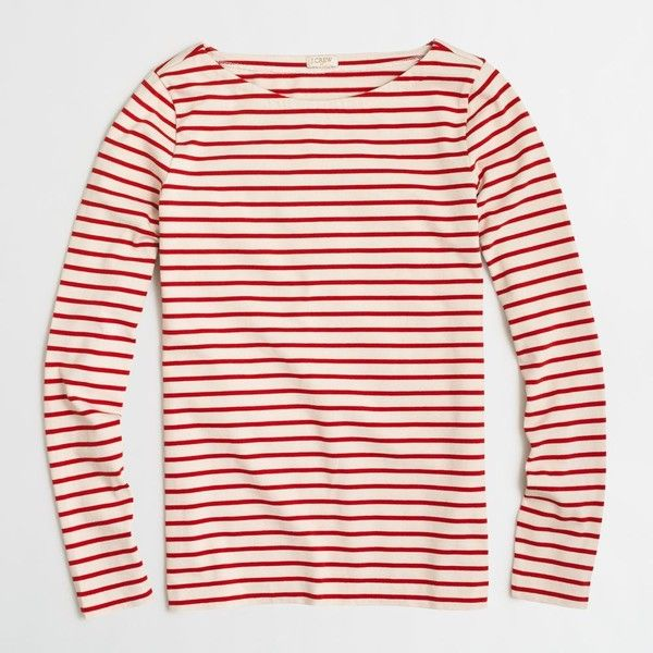 J.Crew Factory long-sleeve striped boatneck T-shirt ($30) ❤ liked ...