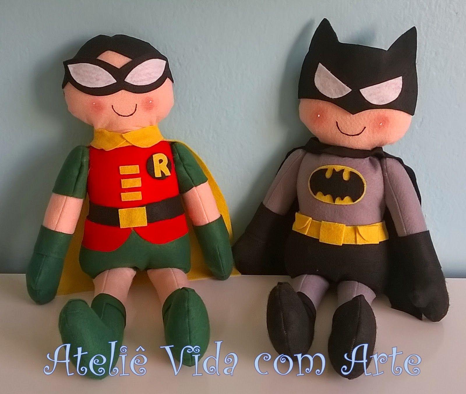 Batman e Robin em feltro - Ateliê Vida com Arte