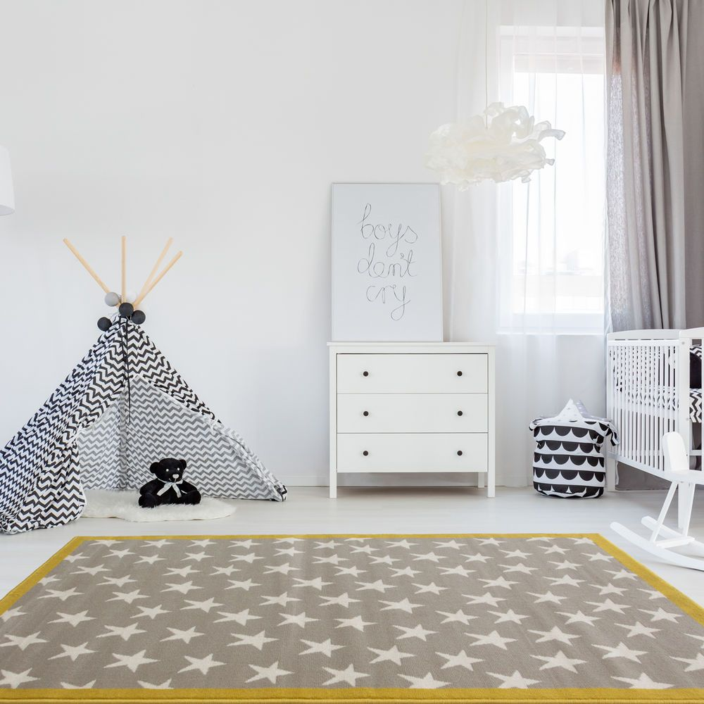 Details about Silver Grey Yellow Bordered Kids Star Rug Soft ...