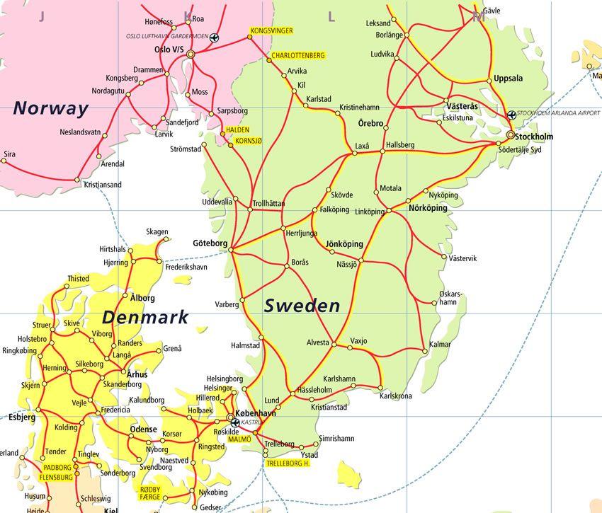 Denmark And Sweden Map Afp Cv Eurail Eurail Map Sweden Map