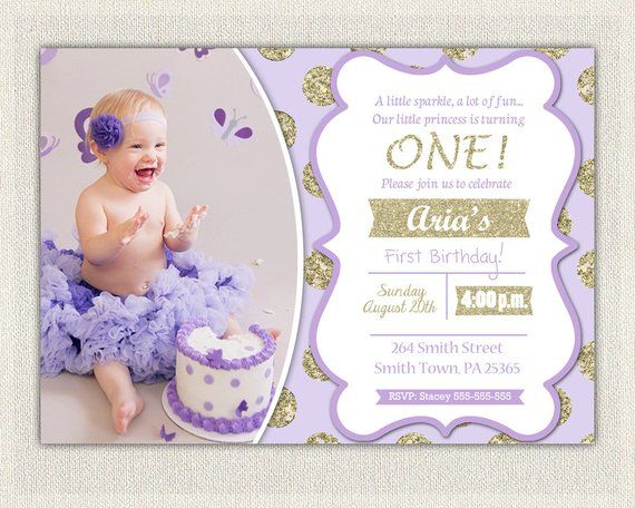 First Birthday Invitation Gold And Purple Princess Invitations