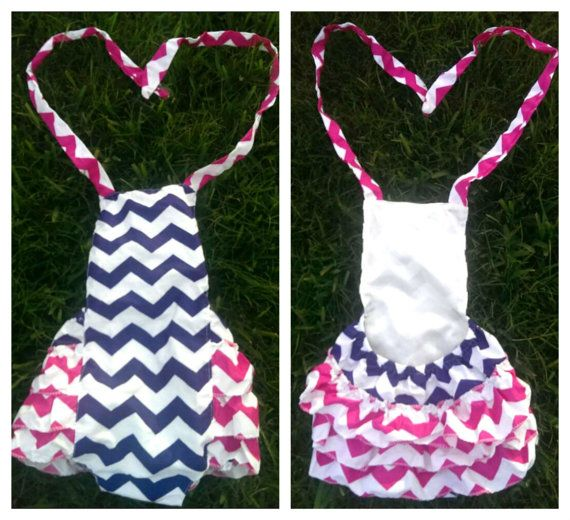 268e5d21d693 Summer Time Is Near  3 Baby Girls Chevron Print Bubble Romper by  AdalynsBoutique on Etsy