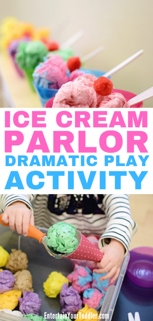 Ice Cream Parlor Dramatic Play Activity Set up an easy, mess-free ice cream parlor dramatic play for toddlers using common household items. Teach colors, counting, and work on fine motor skills.