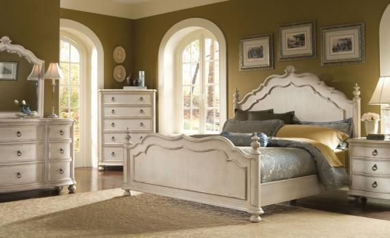 A R T Provenance Panel Bedroom Set In Distressed Ivory Queen Sized Bedroom Sets Bedroom Set Bedroom Sets Queen