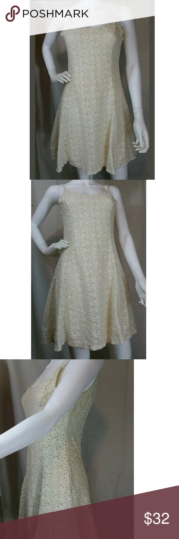 adbebba4b12 90s Floral Cream Lace Dress Vintage Skater M This is a gorgeous vintage 90s  style sleeveless sun dress. This is in great condition.