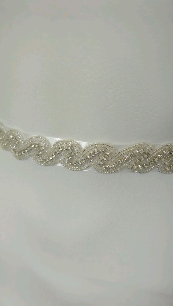 Details About Uk Diamante Crystal White Silver Wedding Bridal Sash Belt 2 5cm 1 Inch Wide