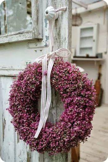 pink gyposophilia wreath