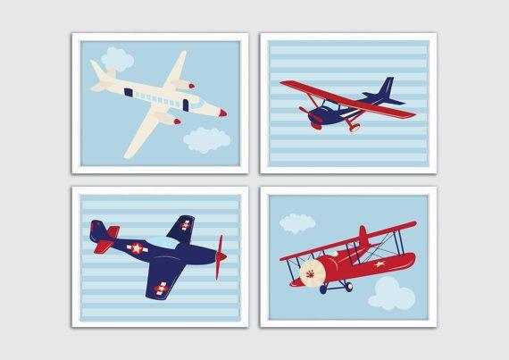Airplane Nursery Wall Decor Boy Nursery Decor Boys Room Wall Etsy In 2021 Airplane Wall Art Nursery Prints Boy Boys Room Wall Art