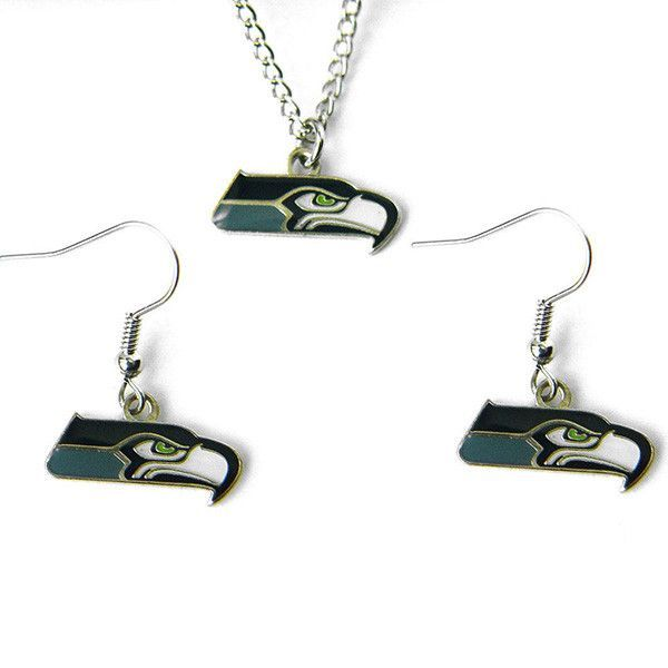 Seattle Seahawks Logo Charm Necklace & Earrings Set