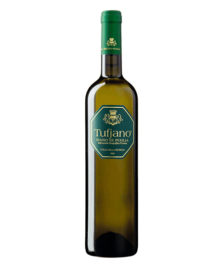 White Wine IGP PUGLIA organic farming Tufjano  - Colli della Murgia  Straw yellow with green reflections. It has intense smells of tropical fruit, acacia honey and yellow flowers, that evolve in pleasant smells of tobacco. The taste is fresh, dry and savoury. It goes well with the great traditional dishes of Apulia, made with fish, vegetables and legumes.