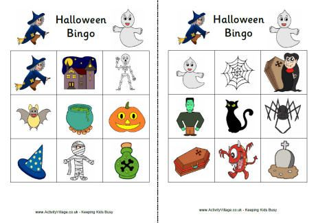 Halloween bingo cards, play it with mini marshmallows as markers ...