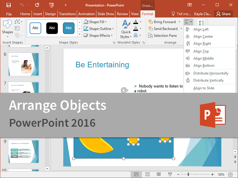 microsoft powerpoint 2016 customguide arrange objects