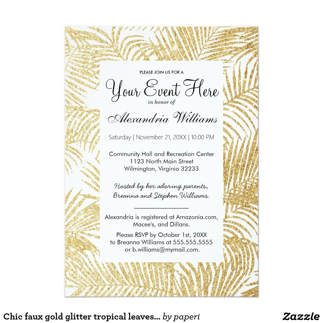 Chic Faux Gold Glitter Tropical Leaves Invitation Faux Gold