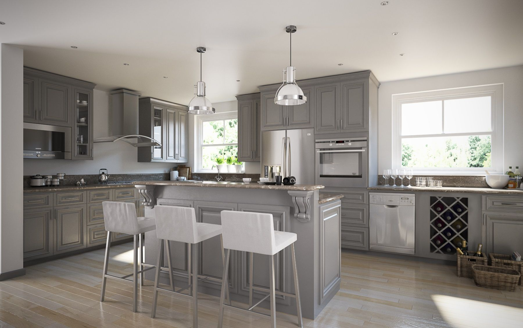 Roosevelt Steel Gray Grey kitchen Assembled