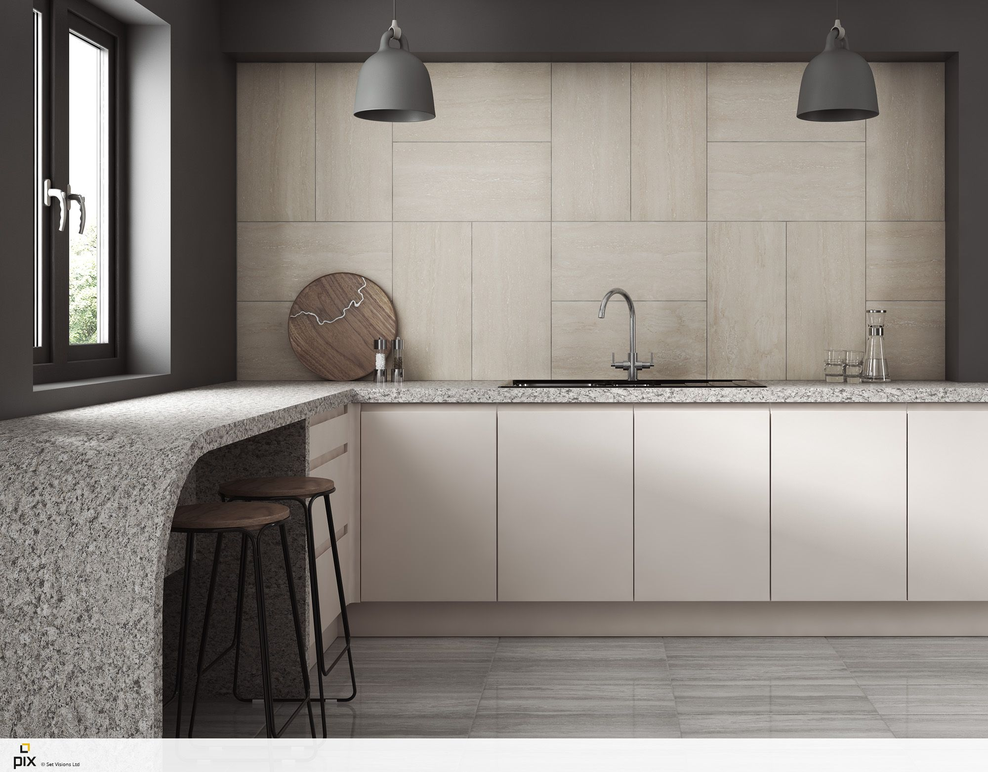 The smooth curve of the Corian worktop creates a real statement in ...