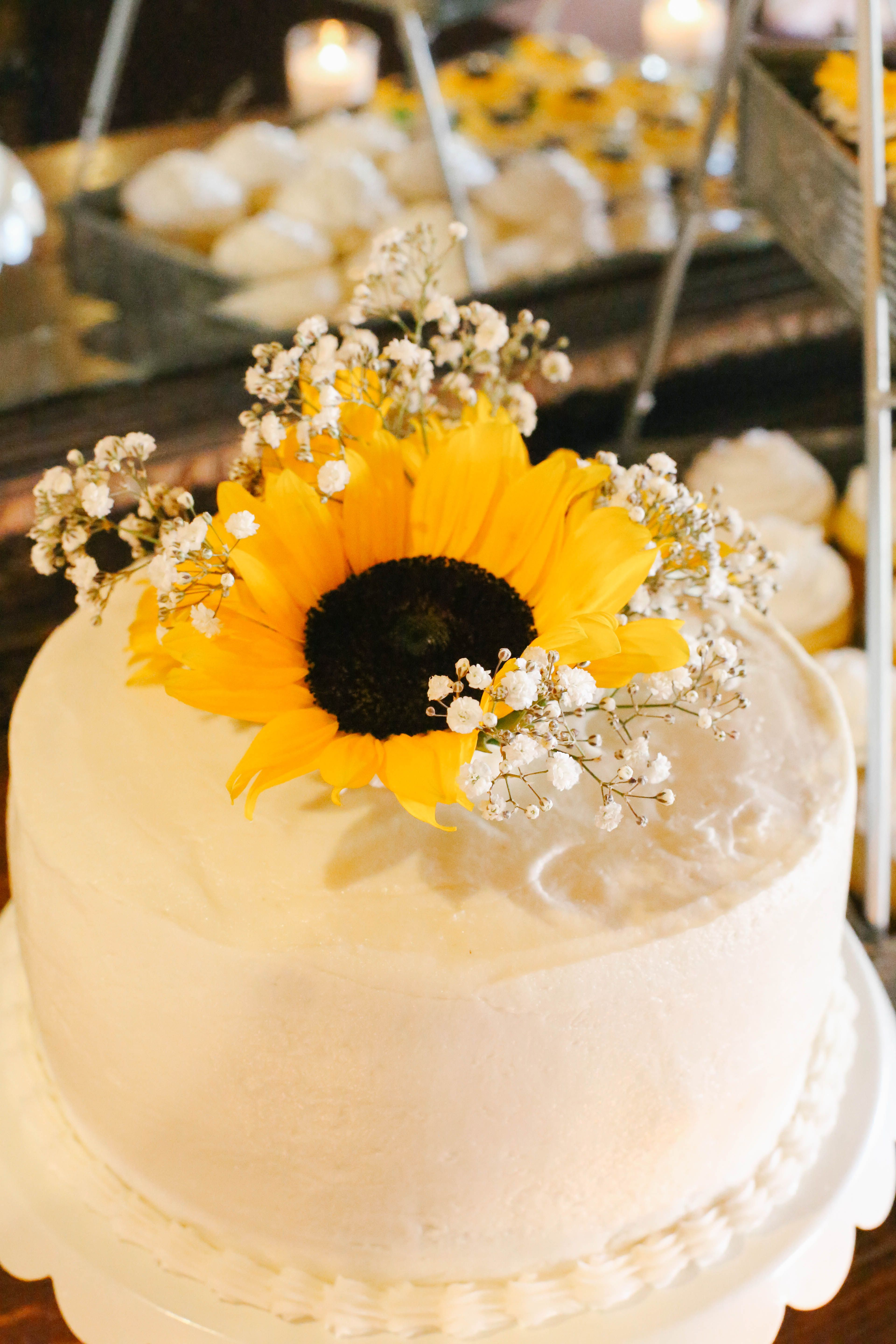 Sunflower and Baby's Breath Cake Topper Sunflower