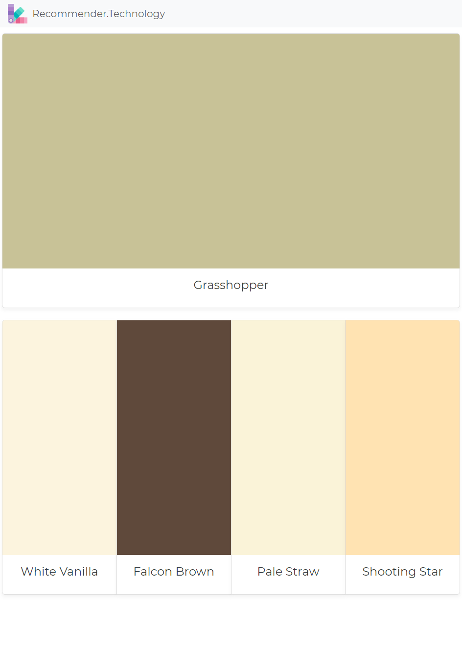 Grhopper White Vanilla Falcon Brown Pale Straw Shooting Star Paint Color Palettes