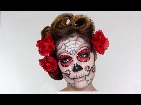 Easy Sugar Skull Day Of The Dead Makeup Tutorial For Halloween Youtube Sugar Skull Makeup Tutorial Skull Makeup Tutorial Dead Makeup
